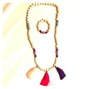 Children's handmade wooden bead necklace/bracelet